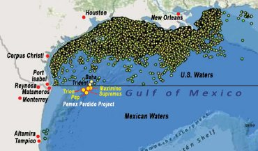 Oil Rigs In Gulf Of Mexico Map.Mexico S Licence To Drill John S World View